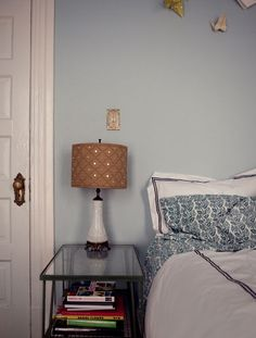Bedside table and relaxing walls serene vintage cute