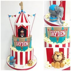 on a fun circus cake with hand sculpted figurines and lots of sweet fondant popcorn. Circus Theme Cakes, Carnival Cakes, Circus Carnival Party, Circus Theme Party, Carnival Birthday, Themed Cakes, Twin Birthday Parties, 5th Birthday, Vintage Circus Party