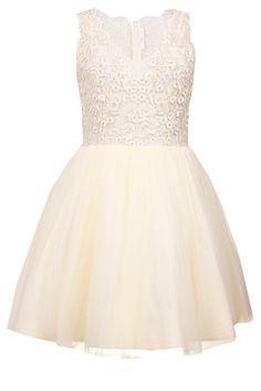 Tiulowa koronkowa sukienka koktajlowa ecru na wesele
