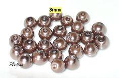 25 Glaswachsperlen Wachsperlen  6mm braunlila von Schmuckmaterial