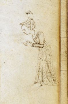 Detail of a page: marginal drawing of a lady praying at the beginning of the Widduy (confession prayer) for Yom Kippur.