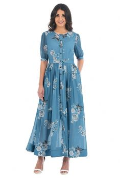 A jewel neckline adds a modern topping to our retro shirtdress designed with a pleated skirt that flows to an ankle-length hem. Indian Gowns Dresses, Modest Dresses, Simple Dresses, Casual Dresses, Fashion Dresses, Evening Dresses, Prom Dresses, Formal Dresses, Women's Fashion