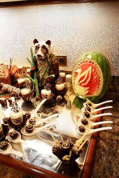 Chef Safari's Chocolate sculpted Zoo. #Chocolate #Art #FoodArt #StraterHotel #DurangoColorado #StraterCatering