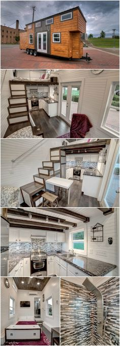 If you are looking for inspiration for a gorgeous contemporary-style tiny house, AL Tiny Homes based in Mount Olive has some designs which are simply stunning. Here is one tiny house which is just amazing to look at inside and out with some gorgeous textures and colors incorporated into the design.