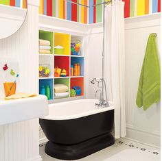 Built in cubbies for the kids bathroom