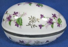 Norleans Porcelain Easter Egg Violet Flowers Trinket Box Japan