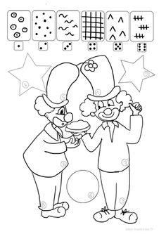 Les clowns, un graphisme à colorier différentes feuilles à imprimer