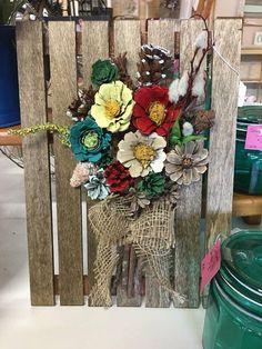 "Pine Cone Art, approximately 6""x12"" Handmade"