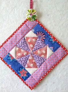 Kaleidoscope pot holder / room accessory by quiltstudio444 on Etsy