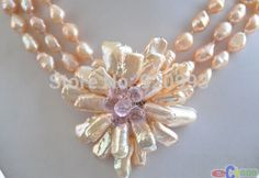 Wholesale Free P&P****P4328 3row 16″ pink baroque pearl biwa crystal flower pendant necklace | Clothing Deals 4 You