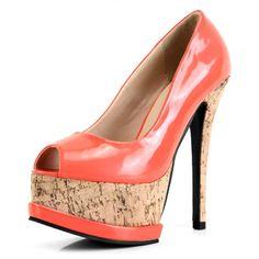 All-Matched Round Peep Toe Platform Super High Stiletto Orange Pumps - http://www.vudress.com/
