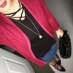 Denim skirt lace up black flats crisscross black tunic top longline burgundy cardigan pendant necklace berry lips black tote purse modest spring fashion style blogger mix and match Mel