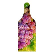 WINE IS BOTTLED POETRY Glass Cutting Board Paddle