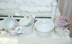 Cottage style mug collection in the lavender guestroom ~ (our home)