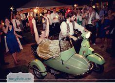 Wedding getaway in a Stella scooter and sidecar! from ruffledblog.com