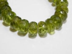 Awesome 3.5 Inches  Peridot Faceted Beads Roundelle by SRBEADS