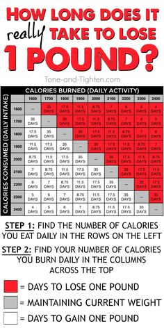 How long will it take you to lose one pound? Determine the calories you eat daily and the calories you burn daily to find out! From Tone-and-Tighten.com