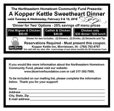 Kopper Kettle Sweetheart Dinner – It's that time of year again! The Northeastern Hometown Community Fund is having their Sweetheart Dinner Fundraiser on February 9th & 10th at the Kopper Kettle Inn. Please help support our fund! Money from our fund helps supports non-profit organizations such as Morristown Matters. You must print the coupon and make a reservation in order to get the...