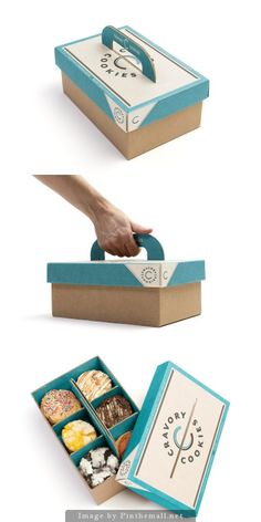 Cookie to go #packaging design. I love the handle. This would be great for donuts or cupcakes too!