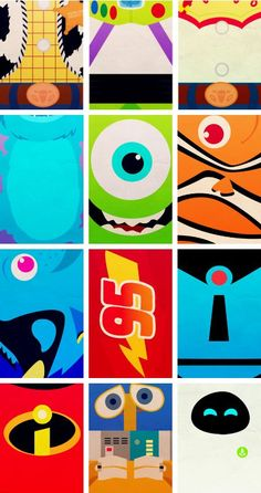 woody buzz jessie sulley mike nemo dory mcqueen old mr. incredible new mr. incredible wall-e eve :) top three are my faves:)  #nevergrowup