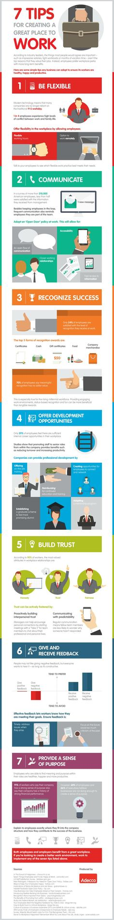 7 Tips for Creating a Great Place to Work #infographic #Business #Workplace