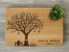 Items similar to Custom Engraved Cutting Board Wedding Gift Personalized Cutting Board Bridal Shower Gift for Couple Love Tree Anniversary Gift Kitchen Decor on Etsy Engraved Cutting Board, Bamboo Cutting Board, Wooden Bread Board, Tree Wedding, Personalized Wedding Gifts, Bridal Shower Gifts, Custom Engraving, Tree Decorations, House Warming