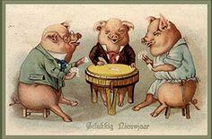 Los tres cerditos jugando poker