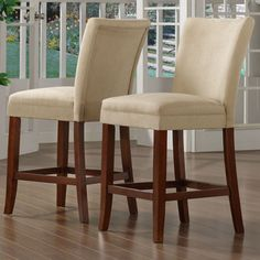 @Overstock - Dining chairs are a simple, yet stylish addition to your dining setDining furniture constructed of solid hardwood in cherry finishStools feature peat microfiber fabrichttp://www.overstock.com/Home-Garden/Parson-Classic-Cherry-Peat-Microfiber-Counter-Height-Chairs-Set-of-2/3471658/product.html?CID=214117 $139.99 hmmm