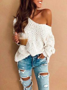 Off Shoulder Loose Sweater - Outfits - School Outfits Look Fashion, Denim Fashion, Autumn Fashion, Cheap Fashion, Womens Fashion Outfits, Women Fashion Casual, Feminine Fashion, Boho Fashion Summer Outfits, Affordable Fashion
