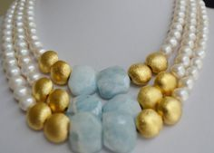 Beautiful Aquamarine stones with white freshwater pearls by Lalyca, $390.00