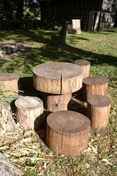 Log table and stools.