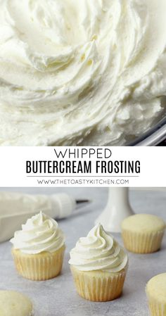 Whipped Buttercream Frosting by The Toasty Kitchen ideas creative Cupcake Recipes, Baking Recipes, Cupcake Cakes, Dessert Recipes, Whipped Buttercream Frosting, Recipe For Buttercream Icing, Cake Icing Recipe Easy, Homemade Cake Frosting, Half And Half Frosting Recipe