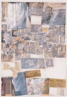 This drawing and collage series includes graphite, gouache, solvent transfer, newsprint, printed paper, and photographs on paper.