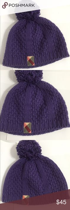 Authentic Burberry purple crochet baby hat Authentic Burberry Children Beanie crochet Purple Hat for girls infant size M ,52cm stretch, can be wear for 8 Months- 3T , pre-worn Condition, super fancy, 50%cashmere/50% Cotton ! Burberry Accessories Hats
