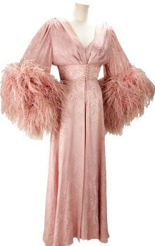 Movie/TV Memorabilia:Costumes, Nolan Miller Dusty Pink Silk Jacquard Negligee and Nightgown withOstrich Feathers for Joan Collins in her Rol...