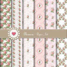 Pink Wedding Roses - Digital Scrapbooking Paper Pack - Collage Sheet - Vintage Flowers - Patterns - DIY - Printables - 1576 by blossompaperart