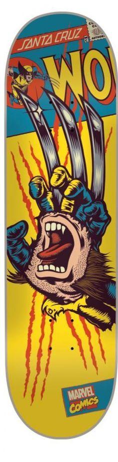 Santa Cruz x Marvel Skateboard Deck - Wolverine Hand