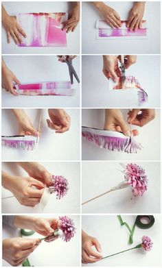 DIY Wedding Paper Flowers Wedding Planner in Hampshire - Recycled magazine paper flower DIY tutorial, wedding flower idea. Shredding scissors used to make a pretty paper flower. Paper Flowers Wedding, Paper Flowers Diy, Handmade Flowers, Flower Crafts, Diy Paper, Fabric Flowers, Paper Crafting, Flower Diy, Wedding Paper