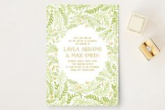 """Gathering Of Leaves"" - Rustic Wedding Invitations in Moss by Ariel Rutland."