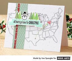 All Hearts Go Home for Christmas by Lisa Spangler for Hero Arts - banner Unique Christmas Cards, Christmas Makes, Xmas Cards, Christmas Home, Greeting Cards, Christmas Ideas, Map Background, Card Making Inspiration, Creative Inspiration