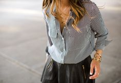 The Black and White Striped Button Down - Song of Style