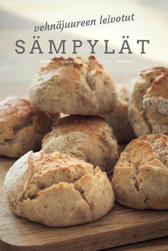 Vehnäjuureen leivotut sämpylät ovat päältä rapeat ja sisältä pehmeän sitkeät. Juuri antaa sämpylöihin makua ja nostattaa ne ilman hiivaa. Lue blogista lisää