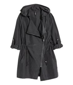 Black. Parka in a modal blend with a soft, brushed finish. Hood, diagonal zip at front, and side pockets. Drawstring at waist and long sleeves with tab and