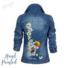 25 Best Denim Jacket Hand Painted Denim Jacket Hand Painted We tend to think about the denim coat as being the commonplace pants coat but denim can be colored any color. Painted Denim Jacket, Painted Jeans, Painted Clothes, Denim Coat, Hand Painted, Diy Fashion, Ideias Fashion, Jean Jacket Outfits, Jacket Jeans