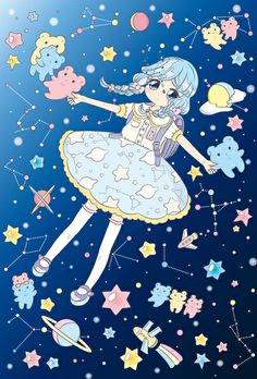 Girl with constellations kawaii