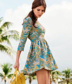 Vestido H&M  Turquesa estampado  Satén