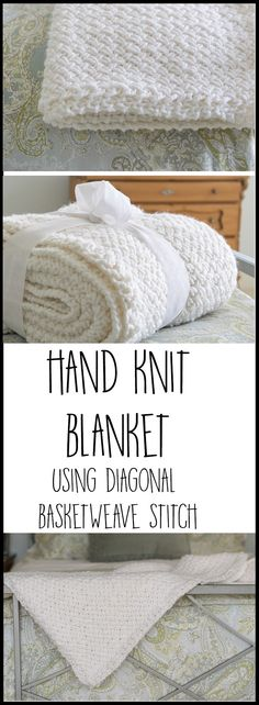 I ❤️ this blanket! Instructions and a quick video showing how to make this Knit Blanket using the Diagonal Basketweave Stitch. Perfect DIY tutorial for your home decor or to give as a gift.