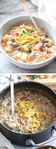 The Best Cheeseburger Soup is what you need when you're craving comfort   foodiecrush.com