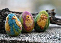Needle felted Easter eggs-Duckling. $19.00, via Etsy.