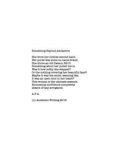 Something beyond attractive Printable poem By AFA (c) Anderson Writing 2016